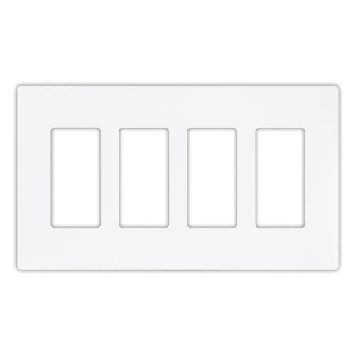 EATON 9524WS Aspire 9524 Decorative Mid Size Screw less Wall Plate, 4 Gang 4-1/2 In L X 8.19 In W 0.08 In T, Satin, White ()
