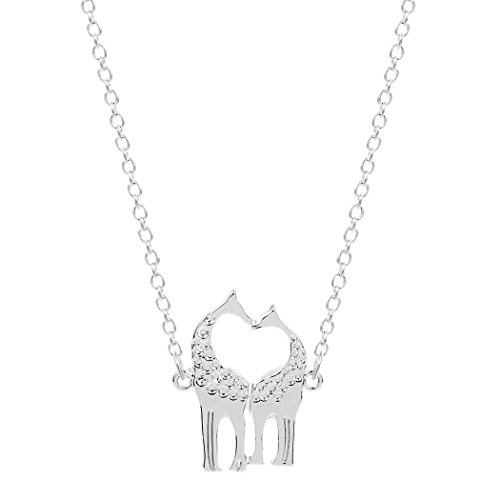Sweetheart Collar Charm - Dayone Handmade Charm Giraffe Heart Shaped Sweetheart Pendant Necklace Alloy Jewelry Collares Silver