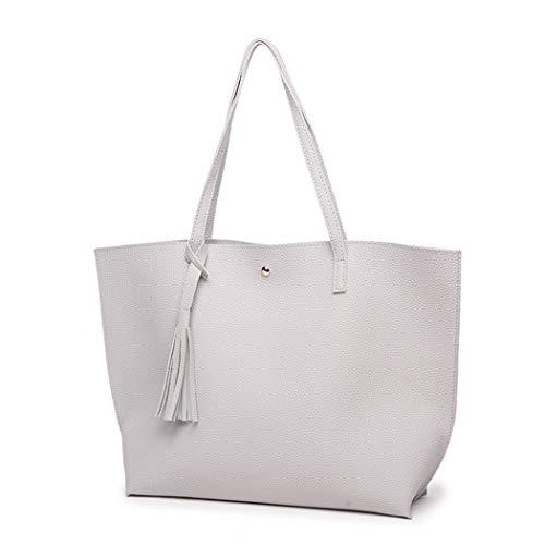 Women Bags, Large Leather Handbags for Ladies Fringe Hobo Bag Tote Bag with Tassel Light Grey