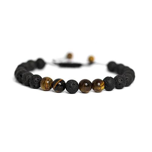 Healing Aromatherapy (Banana Bucket Adjustable Calm Lava Stone Diffuser Bracelet - meditation, grounding, healing, genuine stones, natural, essential oils, self confidence, holistic, aromatherapy)