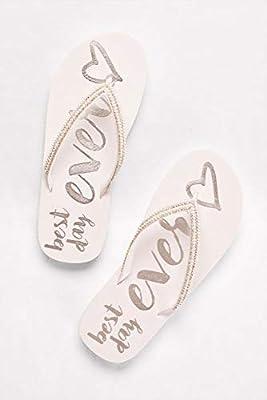 David's Bridal Rhinestone Trim Best Day Ever Flip Flops Style BESTDAYFFV2