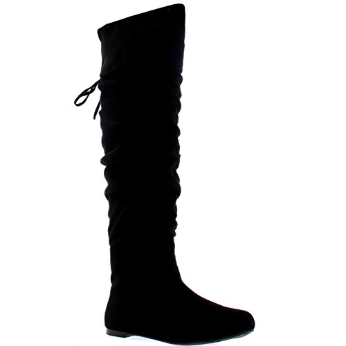 Womens Flat Thigh Winter Biker Shoes Casual Over The Knee Riding Boots - Black Suede - US9/EU40 - (Flat Over The Knee Boots)