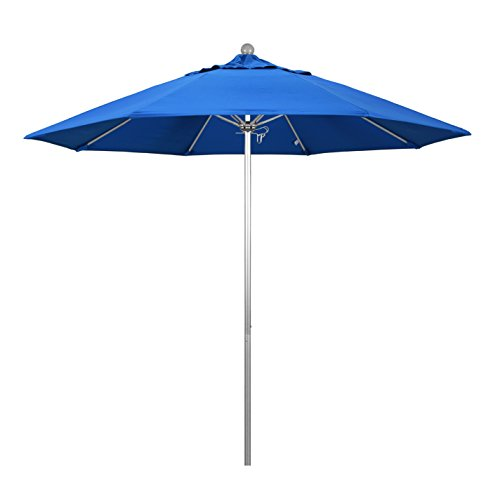 9' Silver Aluminum Pole - California Umbrella 9' Round Aluminum/Fiberglass Umbrella, Push Open, Silver Pole, Olefin Royal Blue Fabric