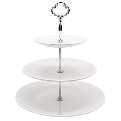 - 3 Tier Serving Tray Cupcake Stand Cake Dessert Pastry Stand White Ceramic Round Platter for Tea Party Wedding Baby Shower Buffet Server ...