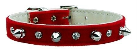 """Brand New Mirage - Velvet Crystal And Spike Collars Red 14 """"Product Category: Punk Rock Dog Collars - Crystals And Spikes Dog Collars - Velvets"""""""