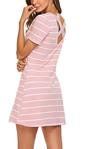 Feager Women's O Neck Crisscross Stripes Pocket Casual Loose Dress Pink, XL