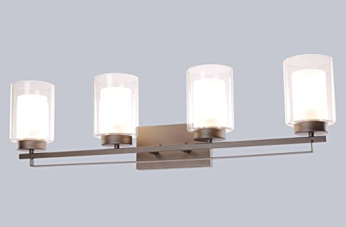 """Wall Light 4 Light Bathroom Vanity Lighting with Dual Glass Shade in Dark Bronze Indoor Wall Mount Light XiNBEi-Lighting… - DIMENSIONS: W: 34-1/4"""" x H: 9"""" extends 6-1/4"""" from the wall MEDIUM BASE SOCKET: Suggest to take four maximum 60 watt Medium base bulbs (incandescent, CFL or LED compatible). Bulbs not included FEATURE: Hardwired, Dark Bronze vanity light fixture with dual glass shade; Fixtures can be mounted as either up light or downlight. - bathroom-lights, bathroom-fixtures-hardware, bathroom - 31MSijO44yL -"""