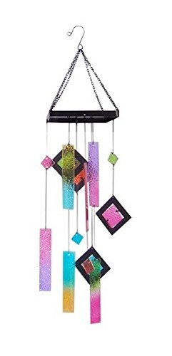 """UPC 840069104482, Continental Art Center 7""""X6.5""""X29.5"""" COLORED GLASS WINDCHIME-SQUARE SHAPED RING"""