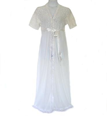 8805 - Plus Size Fur Trim Valentines Wedding Bridal Sleep Robe White XL 1XL 1X (XL / 1XL)