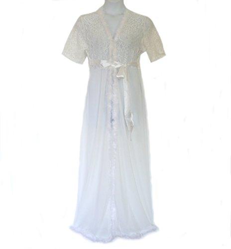 8805 - Plus Size Fur Trim Valentines Wedding Bridal Sleep Robe White