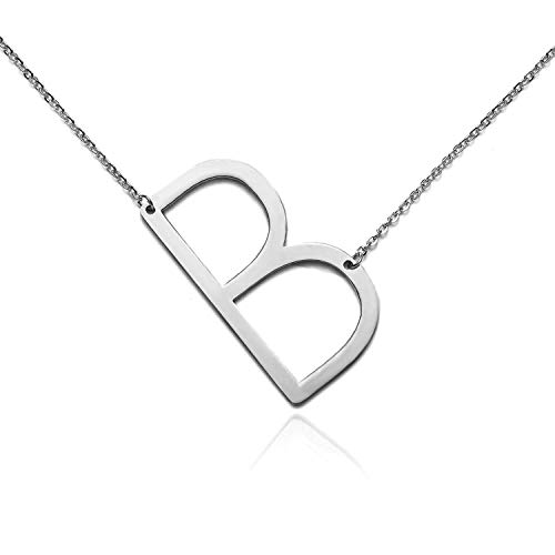 RINHOO Stainless Steel Gold Initial Alphabet 26 Letters Script Name Pendant Chain Necklace from A-Z (B, Stainless Steel Silver Initial Necklace)