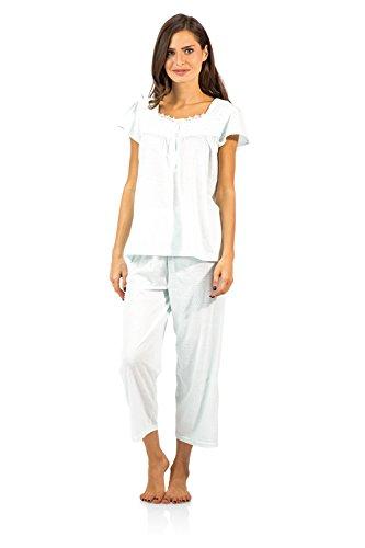 Casual Nights Women's Lace Cap Sleeve Capri Pajama Set - Dot Green - 3X (Green Dot Pants Capri)