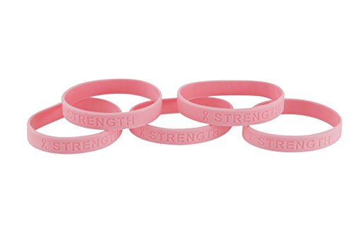 Forge Pink Ribbon Breast Cancer Awareness Silicone Bracelet (Strength) (10 Pack) ()