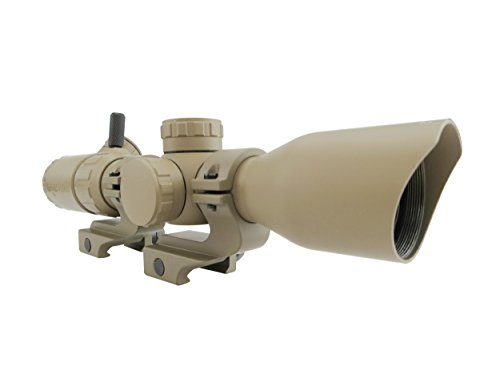 Monstrum 2-7x32 Rifle Scope with Rangefinder Reticle and Offset Reversible Scope Rings | Flat Dark Earth (Best Cqb Scope For Ar 15)
