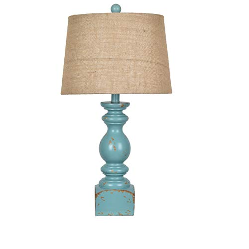 Crestview Distressed Blue Resin Baluster Lamp 25