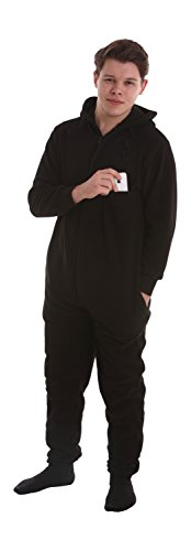 funzee Black Fleece Non Footed Pajamas Jumpsuit Adult Onesie Suit XS to XXL (Size By Height) (XLarge)