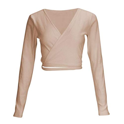 Chemise Solide Col Shirt Tops Sexy Manches Solide Femmes Crop Kaki V Courte Longues Innerternet T Blouse Bandage 0Pqgw1x