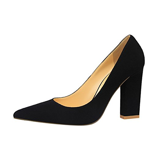 Bloque tacón de de Suede múltiples clásico alto colores Bloque On tela Mujeres Slip Toe zapatos Chunky Party Wedding Pumps Dress YIBLBOX negro con 18qxO6wq