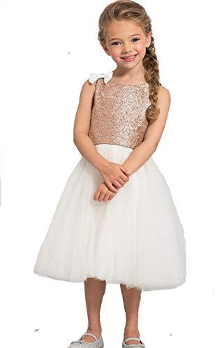 Mrprettys Champagne Gold Sequin Flower Girl Dress Ankle Length Girls Party Dress