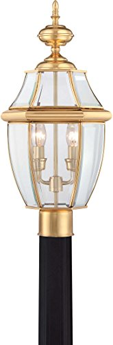 Brass Outdoor Post Light (Quoizel NY9042B 2-Light Newbury Outdoor Lantern in Polished Brass)