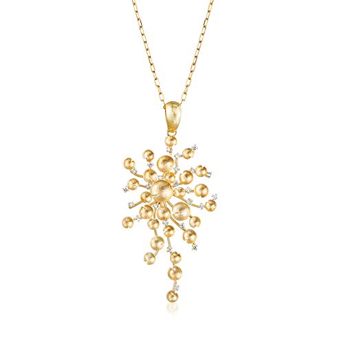 Circle Diamond Pendant Multi - Ross-Simons Italian .72 ct. t.w. Diamond Multi-Circle Cluster Pendant Necklace in 14kt Yellow Gold