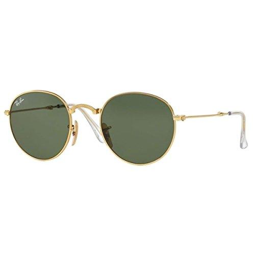 Ray-Ban-METAL-MAN-SUNGLASS-GOLD-Frame-GREEN-Lenses-50mm-Non-Polarized