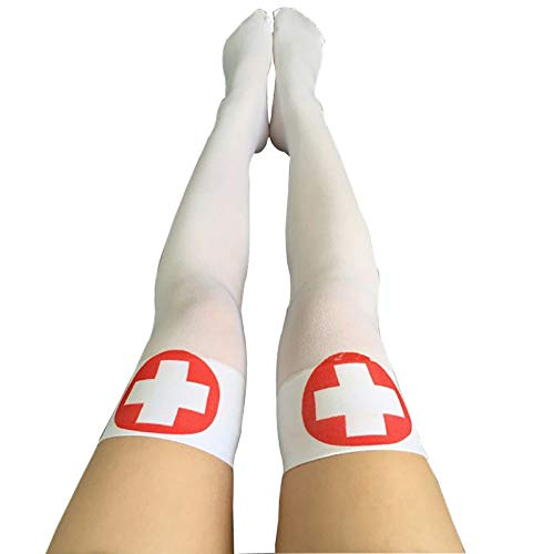Over The Knee Sock - Halloween Decoration Cosplay Striped Over The Knee Stockings Blood Ked Women 39 S Terror Socks - Sock Mens Pattern Women Socks Pack Patterned for $<!--$9.99-->