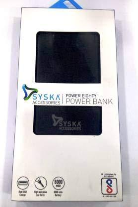Syska 8000 mAh Power Bank  P8001G WH   Black, Lithium Polymer
