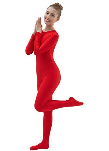 Ensnovo Womens Lycra Spandex One Piece Unitard Full Bodysuit Zentai Suit Costume Red S -