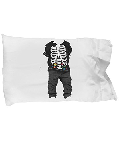 Halloween Ghost Costume Pillow For Kids - Skeletton Pillowcase - Fun Halloween Gifts For Boys & Girls - Happy Halloweenie Bedding For Kids - Ghost Skeletton Pillow Case For Boys & Girls -