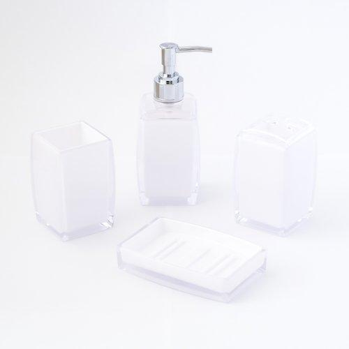 4-Piece Contemporary Acrylic Bathroom Accessory Set - Opaque White