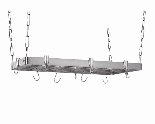 Concept Housewares PR-40905 Stainless-Steel Hanging Pot Rack, Rectangular