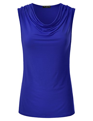 EIMIN Women's Cowl Neck Ruched Draped Sleeveless Stretchy Blouse Tank Top RoyalBlue M