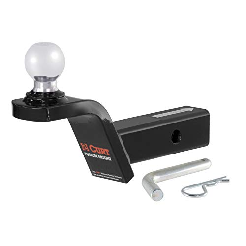CURT 45155 Fusion Trailer Hitch Ball Mount with 2-Inch Trailer Hitch Ball & Hitch Pin, Fits 2-Inch Receiver, 7,500 lbs. GTW, 2-Inch Rise ()
