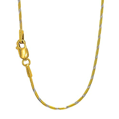 14K Two-Tone Yellow and White Gold 1.00MM Shiny Classic Round Snake Chain Necklace for Pendants and Charms with Lobster-Claw Clasp (16