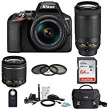 Nikon D3500 DSLR Camera with AF-P 18-55mm and 70-300mm Zoom Lenses with 64GB Card and Accessory Bundle (Best Entry Level Camera For Beginners)