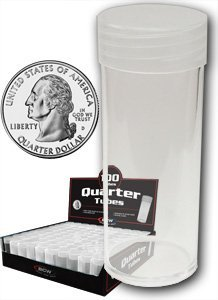 Quarter Coin Tubes - COIN STORAGE TUBES, clear plastic w/ screw on tops for Quarters (Qty of 25 tubes)