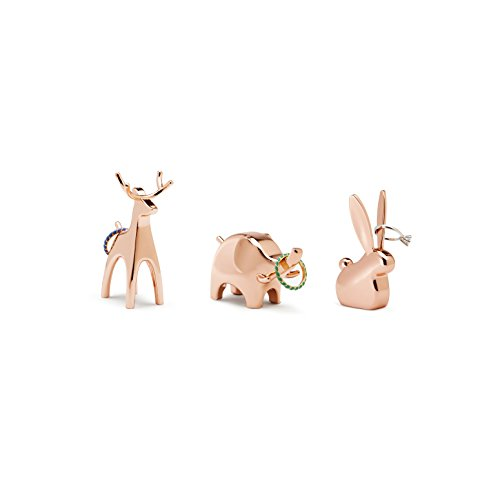 Animal Ring Holder - Umbra Anigram Ring Holder– Metal Plated Bunny, Reindeer and Elephant Ring Holders – Great as Party Favors, Copper Ring Holders, Set of 3