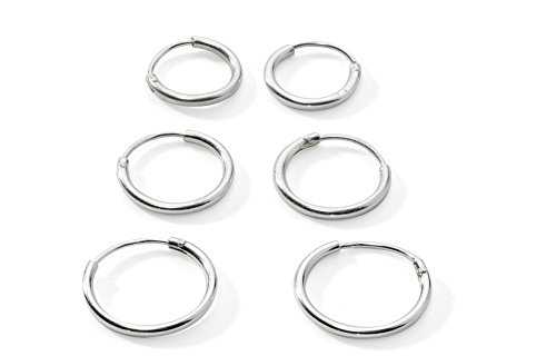 Three Pairs Sterling Silver Small Endless Hoop Earrings for Cartilage, Nose or Lips, 10mm 12mm 14mm by Silverline (Sterling Silver Small Endless Hoop)