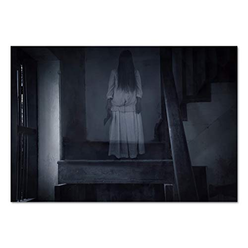 Large Wall Mural Sticker [ Halloween,Horror Scenery Ghost Girl Figure on Stairway Holding Axe Murder Violent Nightmare Decorative,Grey White ] Self-Adhesive Vinyl Wallpaper/Removable Modern Decorati for $<!--$41.99-->