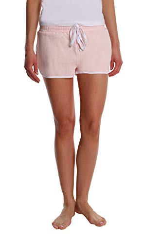 - Women's French Terry Casual Yoga Workout and Lounge Short with Side Stripe and Pocket - Pink Blush - Large