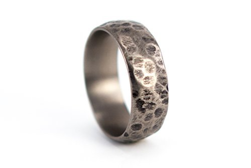 Men's titanium hammered ring. Unique and modern wedding band