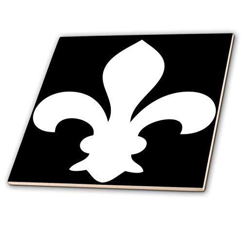 3dRose ct_35248_2 Fleur De Lis White on Black-Ceramic Tile, ()
