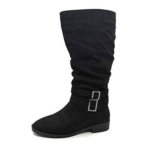 Boot for Women Retro Casual Mid Calf Slouch Exquisite Boot Faux Suede Warm Rouched Shoes -