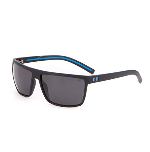 Tacloft Wayfarer 62mm Polarized Sunglasses TR008 (Black Blue Frame/Black - Sunglasses Scratch Resistant Polarized