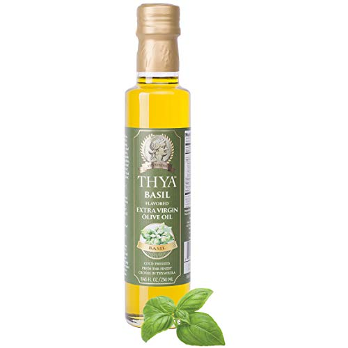 Price comparison product image THYA Basil Flavored Extra Virgin Olive Oil Cold Pressed Olives EVOO for Salad Dressing and Cooking (8.45 fl oz / 250ml)