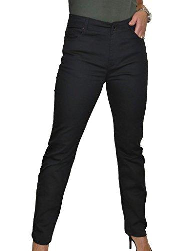 Alta Donna Per 42 Tessuto 56 Lucentezza Jeans Nero Vita Con Ice yIp1Fqwx