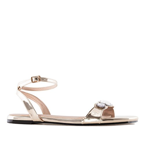 Andres Machado AM5235 Patent Gem Flat Sandals.Large Sizes:UK 8 to 10.5/EU 42 to 45. Gold Patent