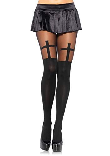 Leg Avenue Womens Cross Tights with Sheer Thigh Accent