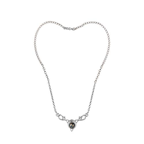 Goddesslili Angel Tears Necklaces for Women Teen Girls Mom 100 Languages I Love You Projection Pendant Wedding Engagement Anniversary Jewelry Gift Under 5 Dollars Silver Rose (Silver)